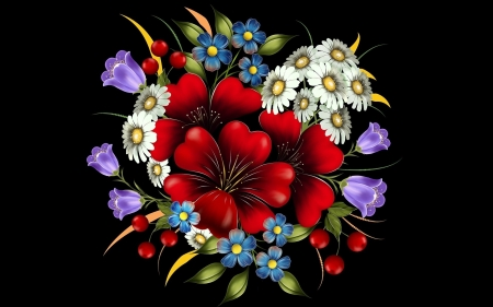 Floral Art - blossoms, flowers, bouquet, artwork