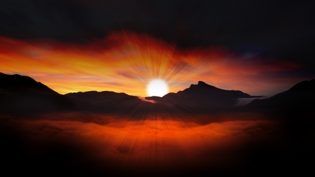 Colorful Sunset - sun, mountains, sky, clouds, mist