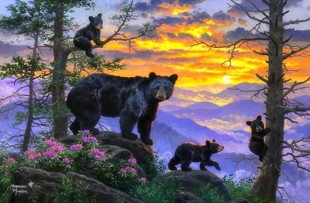 Adventure above the clouds - family, love four seasons, spring, sky, clouds, paintings, mountains, summer, nature, bears, animals
