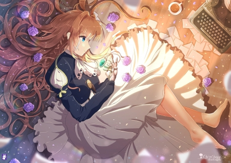 Violet Evergarden - girl, rose, anime, flower, chinchongcha, manga, violet evergarden
