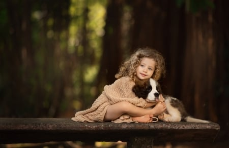 Little girl with puppy - girl, copil, child, puppy, dog