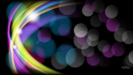 Rainbow Bokeh - Firefox theme, bokeh, colors, abstract, swoosh, wave, light
