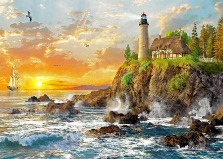 Craggy Coast - rocks, cottage, sunset, waves, sky, clouds, artwork, lighthouse, sea, painting, cliff, sailboat
