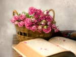 A Basket Full of Pink Roses