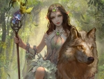 Forest Elf and Wolf