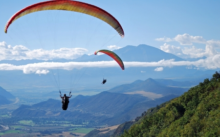 Paragliding over Mountains - sky, clouds, paragliders, mountains