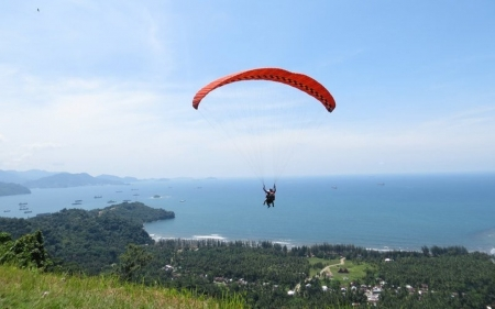 Paragliding over Seashore - paraglider, shore, sky, sea