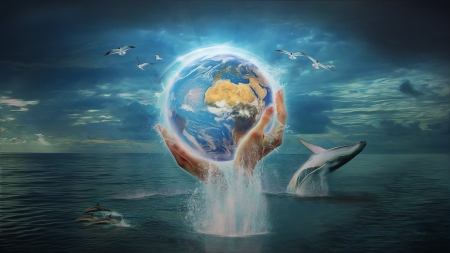 Save the Earth - dolphin, fantasy, water, vara, summer, hand, earth, blue
