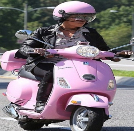 Pink Moped - Pink, Lady, Helmet, Moped