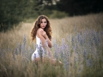 Brunette in a Field