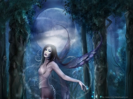 Fantasy Fairy - wings, grass, fantasey art, trees, beautiful angel in forest, forest, dress, fantasy, woman, fairy, girl, darkness, moon, night