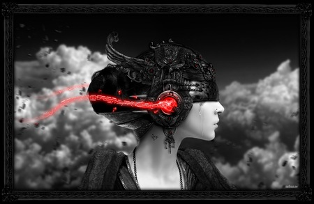 Just Music - cg, entertainment, cyborg, light, white, dark, woman, blood, tear, lady, music, women, mp3, girl, clouds, art, black, grey, photography, abstract, head, red, future, the, helmet, she, nice, 3d, black and white, beauty, beautiful, lovely, fantasy, darkness, tears, artwork