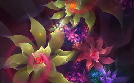 Flowers - zen, 3d and cg, yellow, adorable, nice, colored, flowers, beauty, fairy, widescreen, lovely, cool, purple, awesome, great, red, colorful, dreamy, beautiful, picture, calming, color, hot, pink, other, blue, gorgeous, tranquility, amazing, romantic, colors, glowing flowers, flower, peaceful