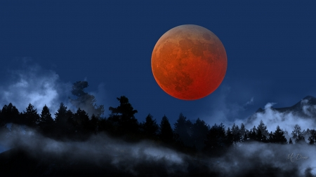 My Firefox theme to match is at: - Firefox theme, forest, trees, sky, fog, moon, full moon, mountains, blood moon