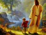 Jesus And Little Boy Walking In Garden