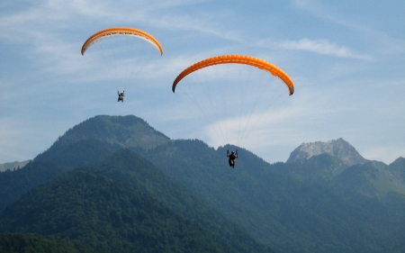 Paragliding over Mountains - sky, paragliding, paragliders, mountains