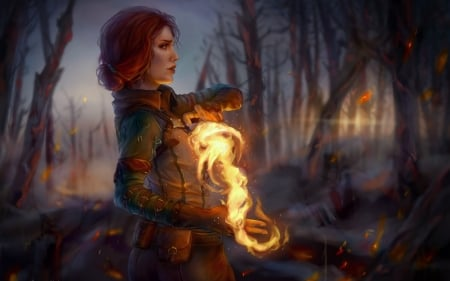 Triss Merigold - fire, fantasy, luminos, girl, the witcher, triss merigold