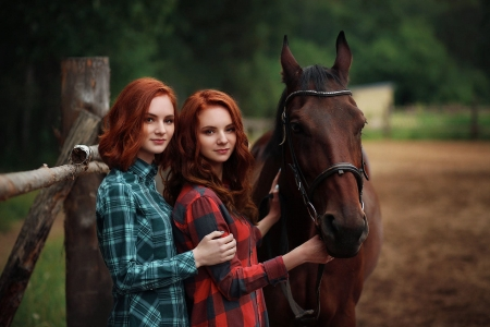 Redheads Rule The Ranch . . - fence, female, cowgirl, ranch, sisters, outdoors, women, horses, redheads, western