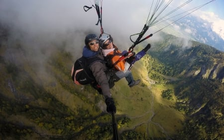 Paragliders - sport, paragliding, paragliders, mountains