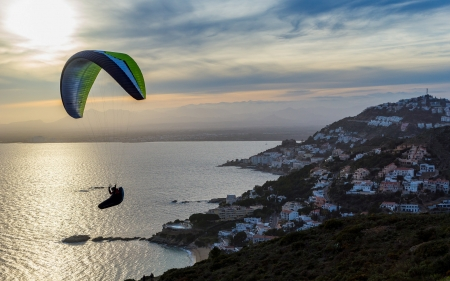 Paragliding in Catalonia, Spain - Spain, sea, landscape, town, paraglider, Catalonia