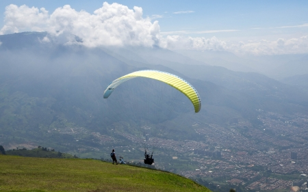 Paraglider at Start - mountain, Colombia, paraglider, landscape