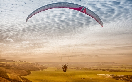 Paragliding in England - sky, clouds, paragliding, England