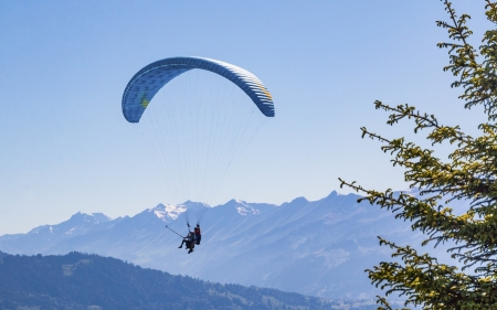 Paragliding in Swiss Alps - Alps, paragliding, mountains, Switzerland, blue