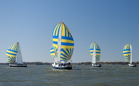 Sailboats - sailing, sky, sea, sailboats