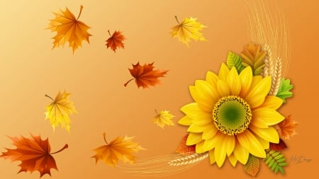 Autumn Best - Firefox theme, fall, harvest, grain, autumn, grass, wheat, yellow, sunflower, leaves, gold, oats, floower