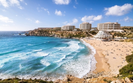 Golden Bay In Malta Beaches Nature Background Wallpapers On Images, Photos, Reviews