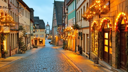 Rothenburg ob der Tauber - Christmas, holiday, decoration, village, Germany, street, lights, winter