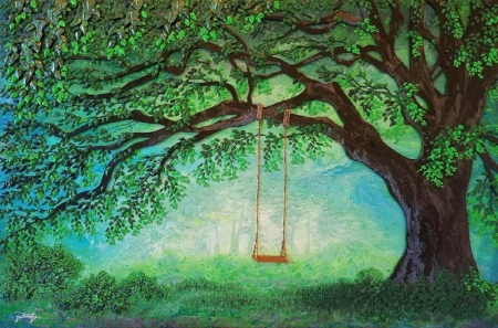 Secret Swing - love four seasons, attractions in dreams, spring, trees, paintings, swings, green, summer, forests, nature