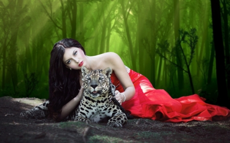 Lady With a Leopard - leopard, lovely, woods, Feminine, Brunette, Outdoors, glamour, Woman, fashion model, lady, cats, red gown