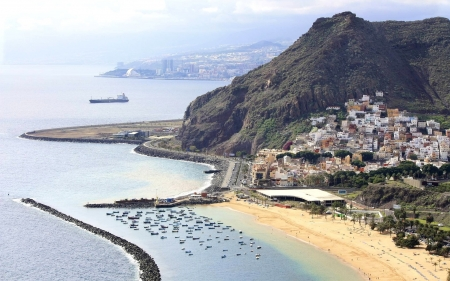 Coast in Tenerife - beach, town, island, Spain, harbor, sea