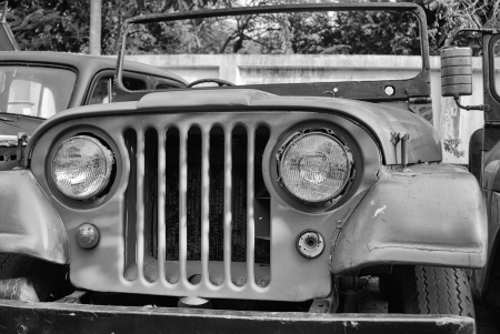 Thailand Jeep - classic, Jeep, old, lights, grill