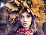 Blue Eyed Blonde Autumn Leaf Hat