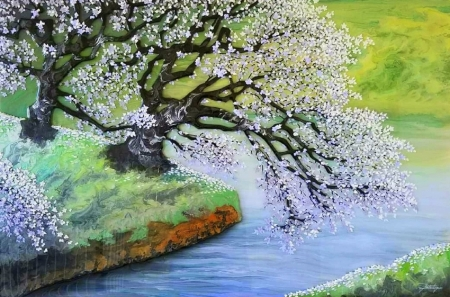 White Flowers - paintings, summer, love four seasons, nature, spring, attractions in dreams, trees, rivers