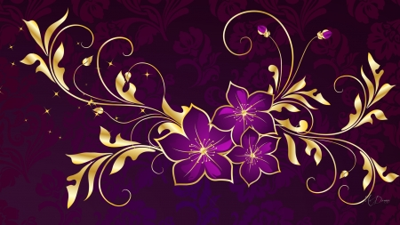Touches of Gold - Firefox theme, gold, purple, flowers, floral