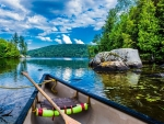 Canoeing on a lake in Quebec, Canada