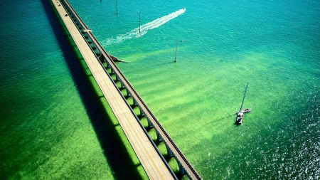bridge in florida keys - florida, water, bridge, usa, bridges, nature