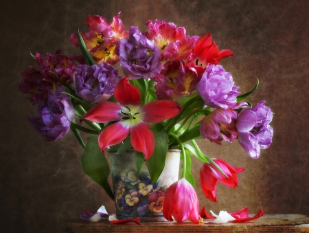 Still Life - vase, colors, flowers, table