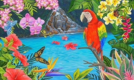 Tropical Pool and Parrot - love four seasons, birds, butterflies, parrot, attractions in dreams, paintings, flowers, summer, nature, tropical, animals