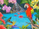 Tropical Pool and Parrot