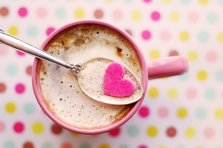 Coffee - delicious, coffee, dots, hearts, abstract, pink, sweet