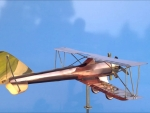 3D Copper Biplane Weathervane