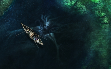 Sea monstern - view from the top, luminos, vara, fantasy, water, boat, summer, sea monster, creature, blue