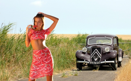 1951 Citroen Traction Avant - cars, brunette, model, 1951, citroen
