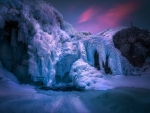 Frozen Waterfall at Twilight