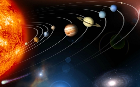 Our Solar System with Halley's Comet - planets, sun, space, comet