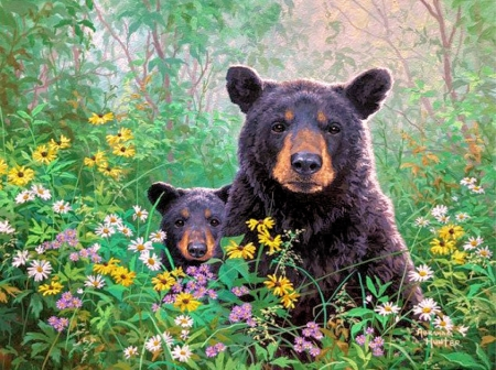 The Babysitter - painting, flowers, blossoms, bears, pup, artwork
